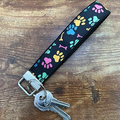 Key Loop - Pastel Paws on Black Ribbon and Nylon