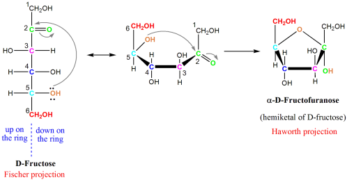 small resolution of diagram of fructose cyclizing