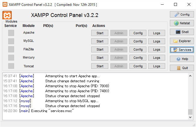 XAMPP Control Panel Services