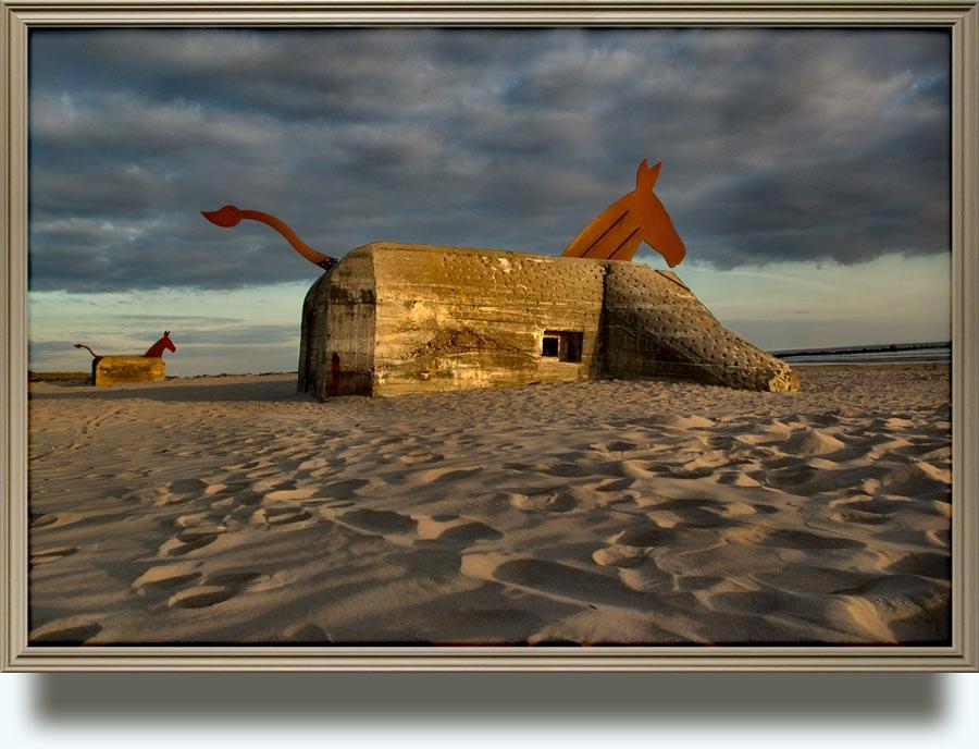 Bill Woodrow (born in 1948 near Henley, Oxfordshire, UK. Lives and works in London). Bunker/Mule. 1995. Concrete bunker, steel. Exhibited Blavand, Jutland, Denmark.
