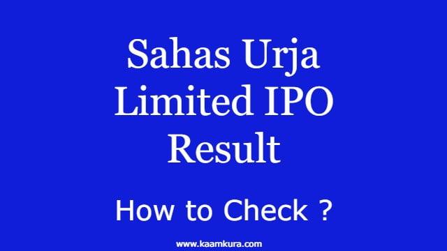Sahas Urja Limited IPO Result