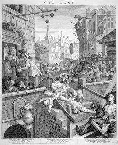 """Udbredelsen af the til de hele befolkningen var med til at fortrænge gin, der havde haft gruopvækkende effekt på de lavere klassers leveforhold - her illustreret af Wm. Hogarths stik """"Gin Lane"""""""