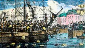 The Boston Tea Party (hvor de oprørte patrioter iøvrigt forsøgte at forklæde sig som indianere i et krysteragtigt og gennemført mislykket forsøg på at skyde skylden på de indfødte.)
