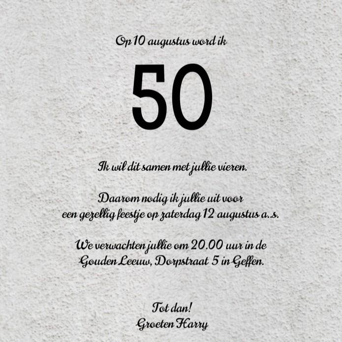 Uitnodiging Harry 50 jaar