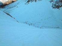 Snøflanken ned mot Vengedalen og Hornvatnet.
