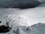 Utsikt ned fra Vestre Høgvagltinden mot Høgvaglbreen