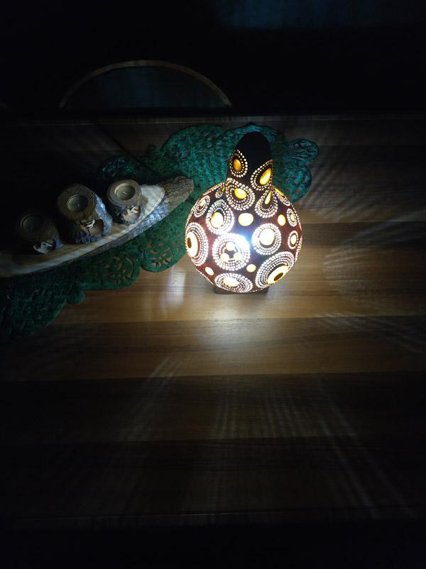 dekoratif ışıklı otantik su kabağı lamba
