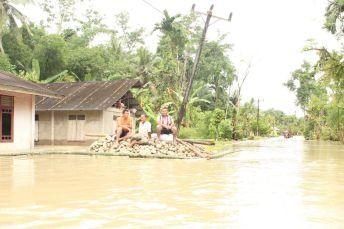 Warga korban banjir hanya bisa berdiam di tempat-tempat yang lebih tinggi untuk menghindari genangan banjir. Aktivitas warga praktis terhenti akibat banjir.