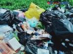 sampah LB3 nampak bercmpur dengan tumpukan sampah non medis di lokasi TPS Anuntaloko Parigi.