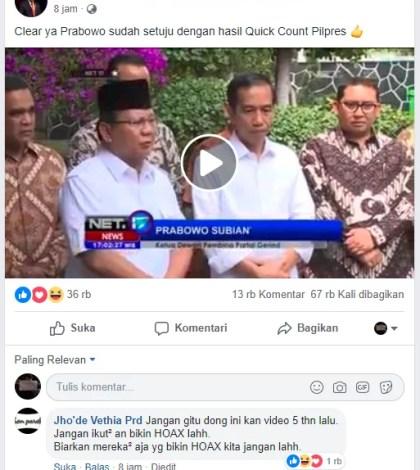 [SALAH] Prabowo sudah setuju dengan hasil Quick Count Pilpres dan ucapkan selamat pada Jokowi