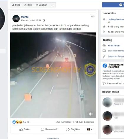 [KLARIFIKASI] Video pembatas jalan water barrier bergerak sendiri di tol Pandaan, Malang