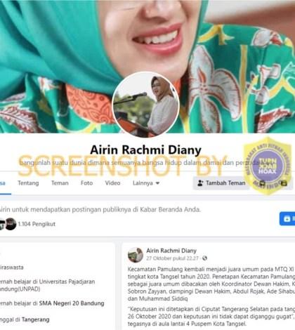 [SALAH] Akun Facebook Pribadi Wali Kota Tangerang Selatan Airin Rachmi Diany