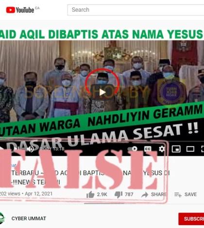 [SALAH] Video Said Aqil Dibaptis Atas Nama Yesus Di Gereja