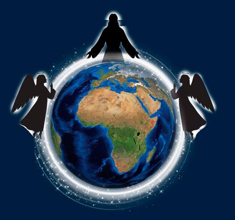 Metratón - Sandalfón y Mashiah envolviendo al mundo en luz blanca