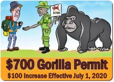 The Uganda Gorilla Permit Price increases to 0 effective July 1-2020