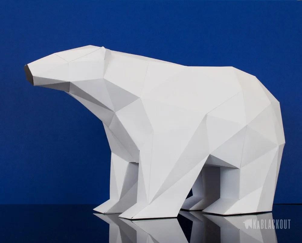 Low Poly Polar Bear Template Low Poly 3d Papercraft Templates By Kablackout