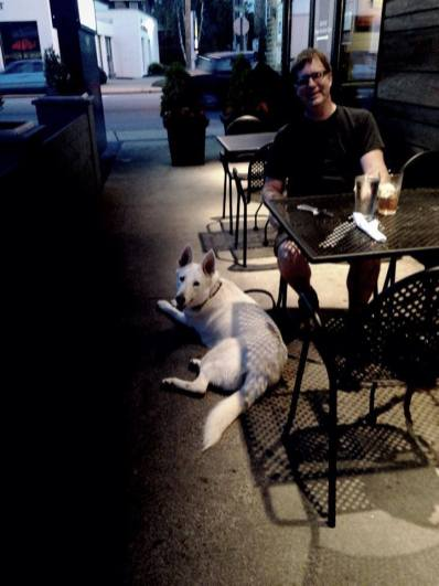 David out to dinner with Tundra in West Asheville.