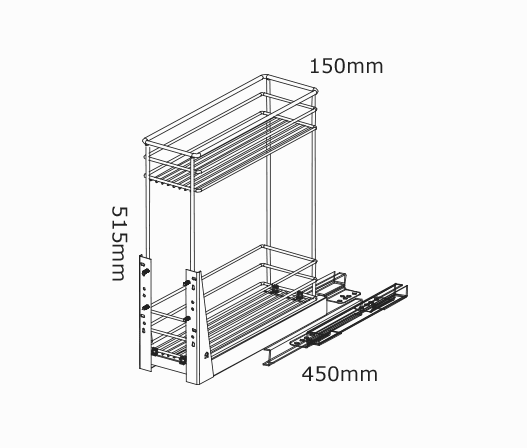 kitchen appliance parts outdoor oven 200mm pullout baskets 2 tier soft close | kaboodle
