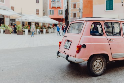 small resolution of pink renault 4 on the street in the city of rovinj croatia