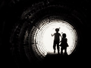 image edited for contrast of girls in tunnel ready for converting photo to svg