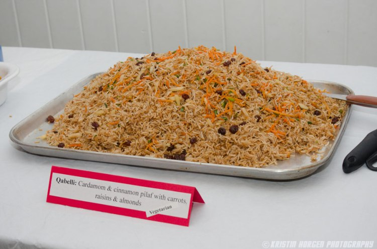 Kabultec 2016 benefit dinner. Qabelli: Cardamom & cinnamon pilaf with carrots, raisins & almonds