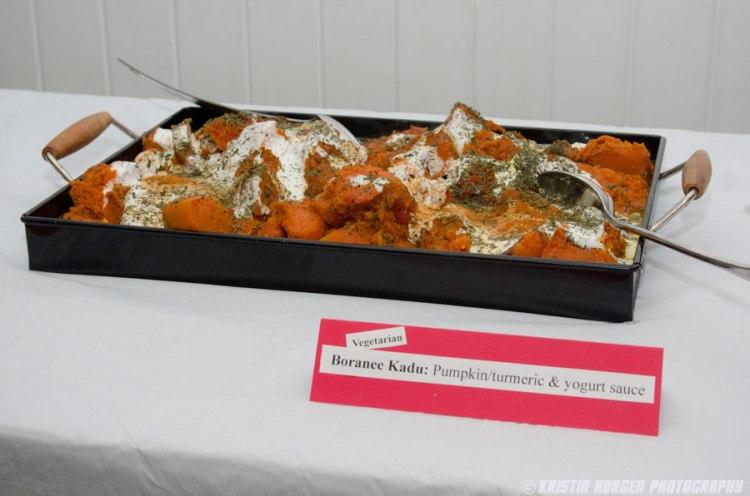 Kabultec 2016 benefit dinner. Boranee Kadu: Pumpkin with turmeric and yogurt sauce
