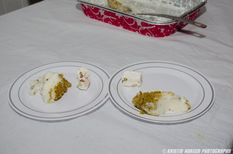 Kabultec 2016 benefit dinner. Firnee: Milk pudding w/pistachios and Herat sweets