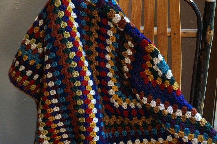 Colorful Afghan crochet.
