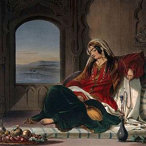 Art: Afghan lady reclining