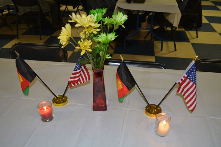 American and Afghan flags at the Kabultec Benefit Dinner 2017.