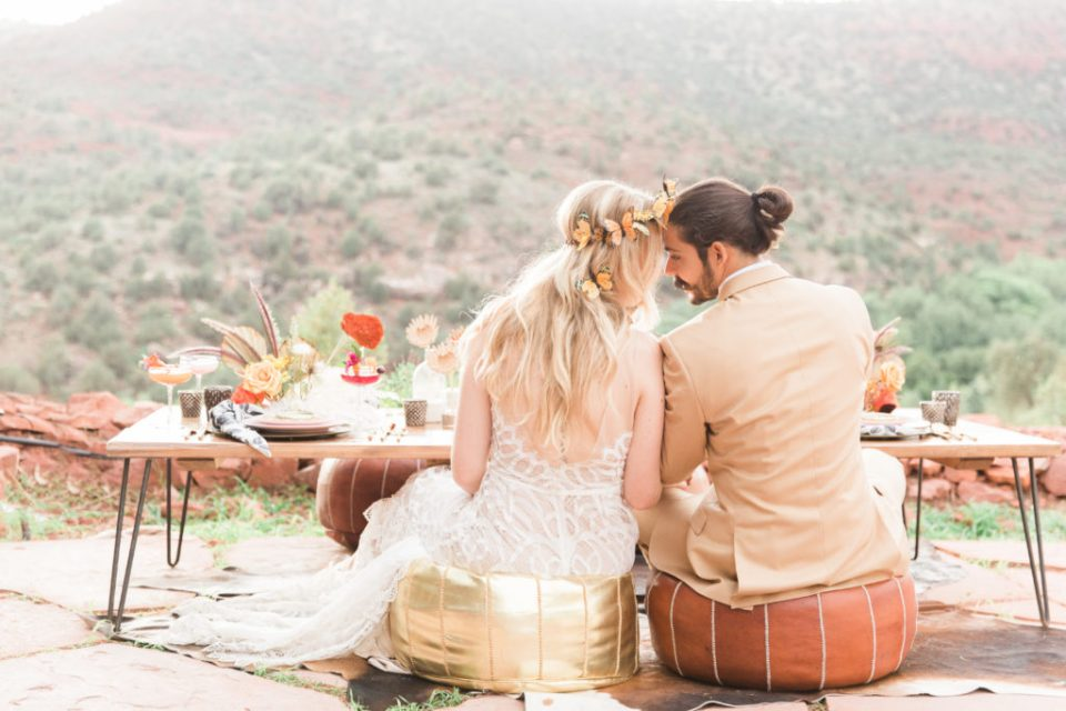 Sedona Airbnb Wedding couple on patio dinner