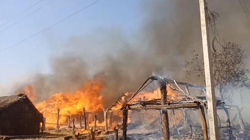 बाँकेको नरैनापुरमा आगलागी १२० घर जलेर नष्ट चार जना घाइते