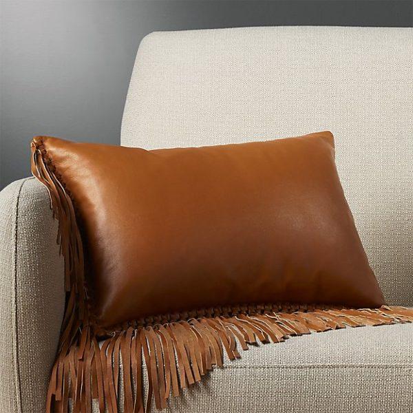fringe faux leather accent pillow multi colors