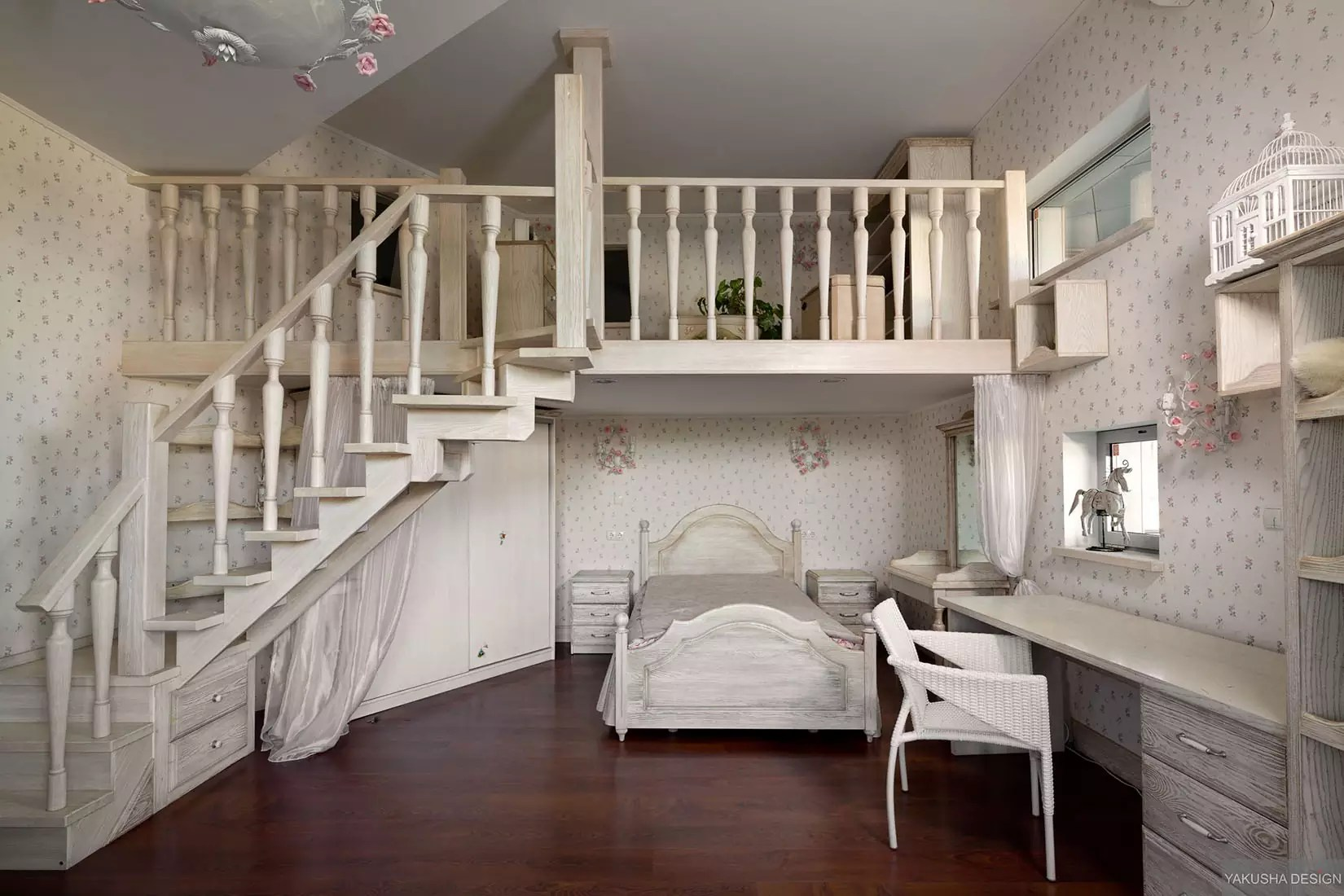 dreamy-floral-and-white-bedroom-with-mezzanine-and-homework-space