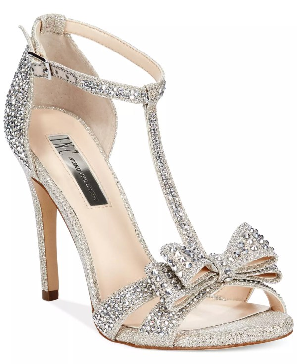 INC International Concepts Women's Reesie Rhinestone Bow Evening Sandals