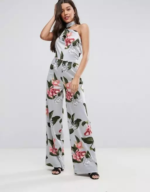 Mango Oversized Floral Print High Neck Jumpsuit