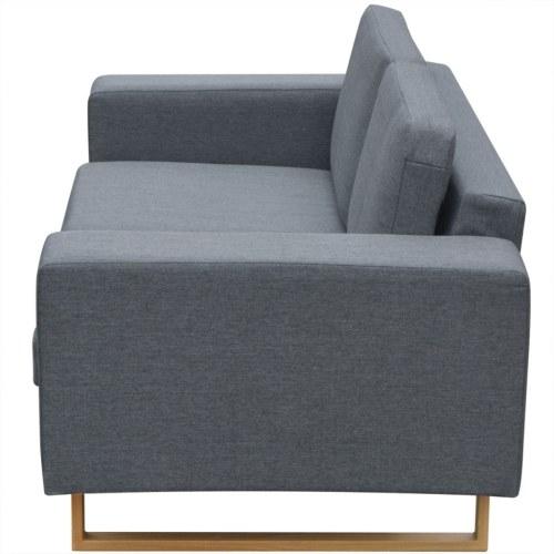 2-Seater Sofa Fabric Light Gray
