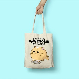 Fuzzballs Fuzzballs Totebag - I'm Kinda Pawesome At Games