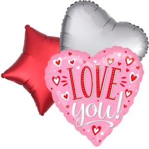 Ballonboeket Love you! pink