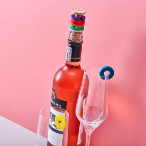 Regenboog Wijnstopper En Glasmarkers