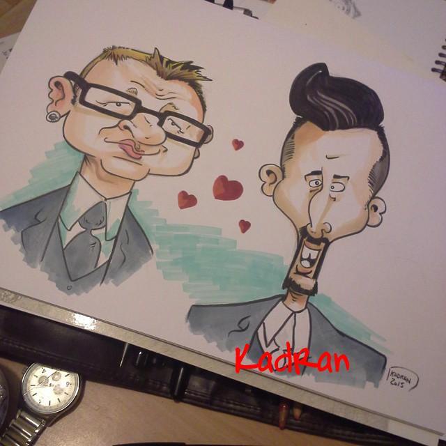 Mariage Seb et Fred en caricature au Chateau D'Eporce, la Quinte