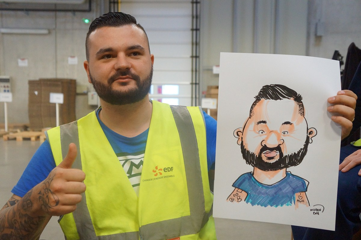 Animation caricature pour entreprises - EDF Velaines, Meuse (55500)
