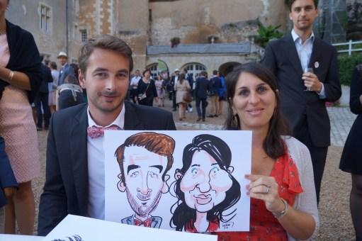 Mariage en caricatures de Mathieu et Alejandra