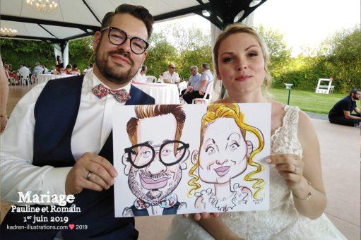 Mariage en caricatures de Pauline et Romain