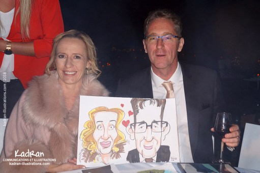 Animation caricatures pour le mariage de Julia et Denis