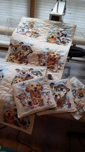 QUILTED KENNEL QUILTS & HOT PADS from Dog & Cat Group Selfies fabric