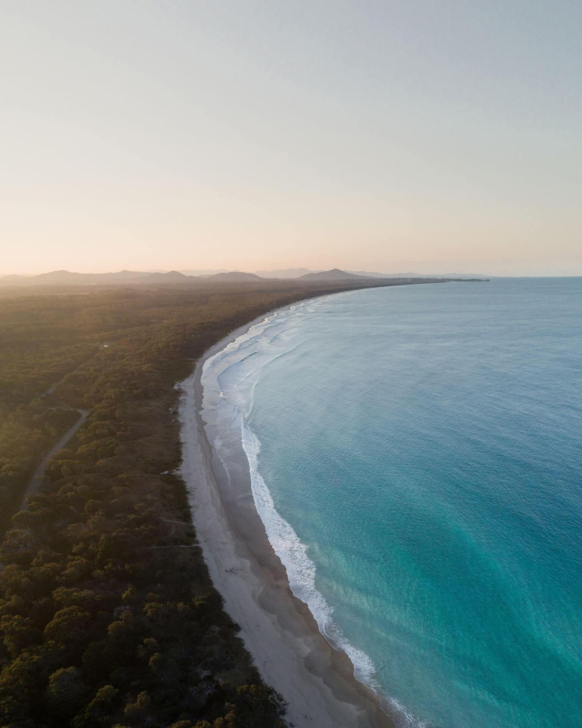 Aerial of Scotts Head Beach Sunset