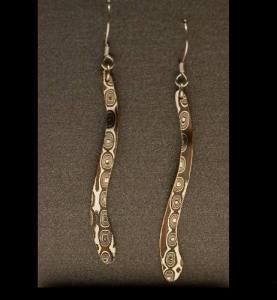 Mokume Gane Earrings- Long Dangle