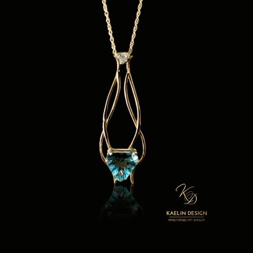 Fire Light Fluorite and Sapphire Gold Pendant by Kaelin Design