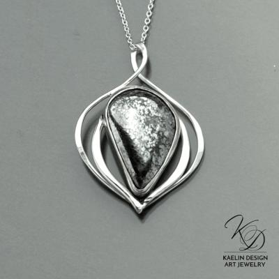 Memories silver and Cobalt handmade Pendant by Kaelin Design